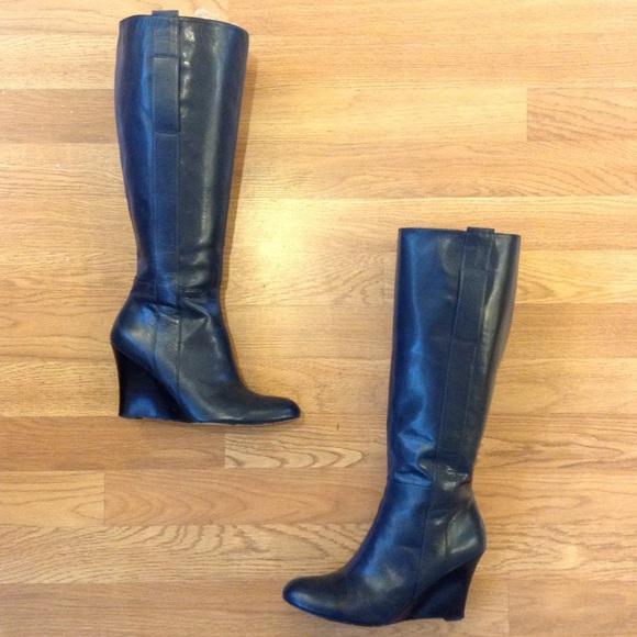 236dc9e20f1 Nine West Navy Blue Wedge Heel Boots. M 5a6cf6f2b7f72bc6d1b72f79